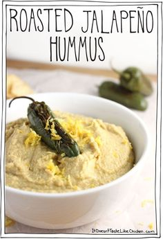 Roasted Jalapeño Hummus! The jalapeño provides a lovely spice when combined with lemon and a secret ingredient... #itdoesnttastelikechicken