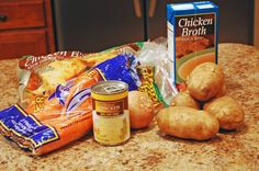 Throw chicken, potatoes, carrots and onions in the crockpot and let it cook on high for 5-6 hours or low for 7-8 hours.