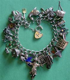 Vintage Sterling Silver Enamel Garden Green Thumb Charm Bracelet 24 Charms | eBay