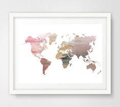 Rose monde carte murale de l'art, carte du monde rose, affiche carte mondiale…