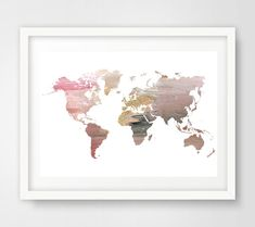 World Map Poster Cool Posters Watercolor World Map Wall Prints - Cool map posters
