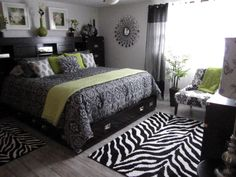 Black White Bedroom Zebra Stripes And Damask W Green Accent Color