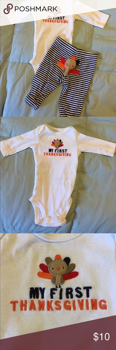 My first thanksgiving turkey onesie and pants Just One You brand, newborn size, worn once. Super cute! Just One You by Carter's One Pieces Bodysuits
