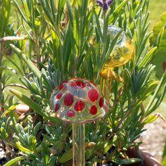 Garden Stake Mushroom House Plant Decor Lampwork  Glass Red Blue Dots. $17.00, via Etsy.