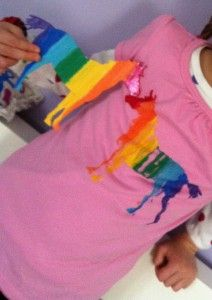 rainbow printing with fabric paint for custom shirts