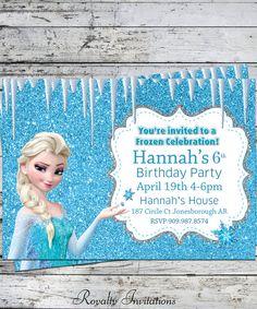 :) Disney Frozen Birthday Party Invitation Kids by RoyaltyInvitations, Elsa Birthday Party, Frozen Birthday Invitations, Disney Frozen Birthday, Party Invitations Kids, 6th Birthday Parties, 4th Birthday, Invitation Ideas, Invites, Birthday Ideas