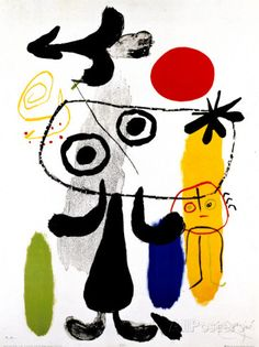 Figur Gegen Rote Sonne II, c. 1950 Posters by Joan Miró at AllPosters.com