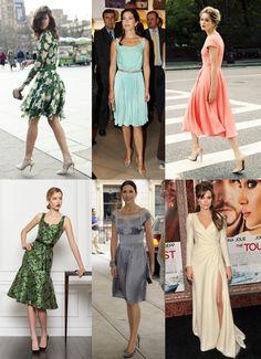 Dresses  1 ряд – струящееся платье; утонченное элегантное платье; расклешенное платье. 2 ряд – выделение талии; смягченные сложные детали платья; драпировка на платье.