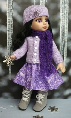 """~SNoWFLaKeS  SuGaRPLuMs~..a sweet handknit sweater,hat,scarf,and skirt for Tonner Patsy, or Ann Estelle 10"""" dolls. Created with love for your special doll. The button on the hat shimmers and is so beautiful your Patsy will LOVE!  Fits similar sized dolls also like Bitty Bethany by Kish and Tonner Sophie or Georgia Dolls.  Newly created and at my ebay now with a buy it now price!"""