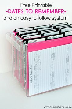 Organizational Printables Organizational Printables - Dates to Remember System of organizing Birthday Cards and more including a Free Printable via Its Overflowing Organisation Hacks, Organizing Paperwork, Home Office Organization, Paper Organization, Organising, Filing Cabinet Organization, Project Life Organization, Receipt Organization, Organizing Ideas