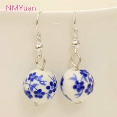 Personalized retro handmade porcelain ceramic national wind small domestic wholesale jewelry earrings for women  Price: 0.28 USD