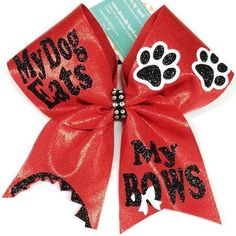 Bows by April - The MY DOG EATS MY BOWS Red Mystique Cheer Bow, $20.00 (http://www.bowsbyapril.com/the-my-dog-eats-my-bows-red-mystique-cheer-bow/)