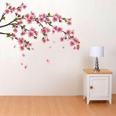 Adesivo de Parede Flor de Cerejeira Sakura Cherry Blossom Bedroom, Cherry Blossom Decor, Sakura Cherry Blossom, Baby Bedroom, Home Decor Bedroom, Pink Christmas Decorations, Mural Painting, Room Paint, Girl Nursery