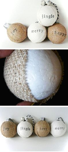 Stamped Burlap Ornaments Click Pic for 22 DIY Christmas Decor Ideas on a Budget Last Minute Christmas Decorating Ideas for the Home Burlap Ornaments, Burlap Crafts, Diy Christmas Ornaments, Christmas Projects, Christmas Tree Decorations, Holiday Crafts, Ornaments Ideas, Christmas Trees, Diy Christmas Decorations For Home