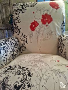 Floral Hand Painted Fabric Chair