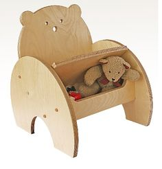 Lovely British made eco-friendly wooden child's bear chair with underseat toy storage available at www.funkynursery.co.uk