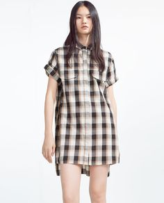Image 1 of CHECKED ORGANIC COTTON DRESS from Zara