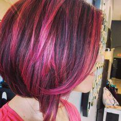 Pink dreams hair by Jessy Graham at Jessy's Girl Salon. Wella, pravana vivids, pink highlights, magenta, wild orchid, short hair, swing bob, balayage, sombre, aquage, biomega, www.jessysgirl.com 972-869-6800