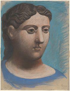 "Pablo Picasso, ""Head of a woman,"" 1921 (Photo: Wikimedia Commons Public Domain) Pablo Picasso, Art Picasso, Picasso Blue, Picasso Drawing, Picasso Paintings, Picasso Images, Famous Artist Names, Famous Artists Paintings, World Famous Artists"