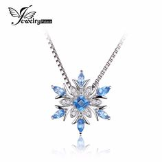JewelryPalace Snowflake Genuine Swis Blue Topaz Solid 925 Sterling Silver Pendant Fine Jewelry for women Not Include the Chain * Check this awesome product by going to the link at the image.