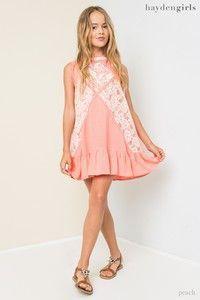 Hayden Spring Coral Pink Lace Mock Dress