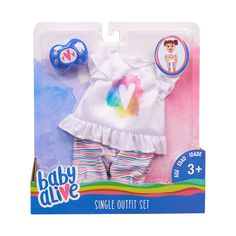 Baby Alive Single Outfit Set - White & Rainbow Heart Shirt with Striped Shorts Baby Dolls For Kids, Real Life Baby Dolls, Reborn Toddler Dolls, Toys For Girls, Kids Toys, Baby Alive Doll Clothes, Baby Alive Dolls, 3rd Baby, Baby Born
