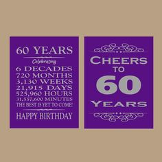 60 Years Cheers To 60th Birthday Printable Party Decor Supplie