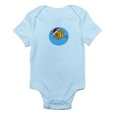 Cute Fish With Santa Hat Infant Bodysuit > Designs For The Little Ones