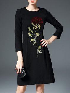 #AdoreWe #StyleWe Dresses - D.FANNI Elegant Appliqued Long Sleeve Mini Dress - AdoreWe.net
