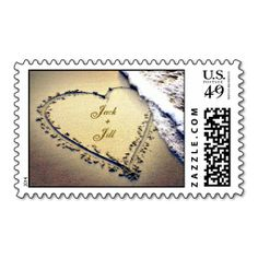 Beach Wedding Save the Date Cards Love Sand Heart Beach Wedding Invitation Stamp Beach Wedding Invitations, Save The Date Invitations, Invitation Set, Wedding Stationery, Invites, Custom Postage Stamps, Wedding Postage Stamps, Wedding Stamps, Save The Date Stamp