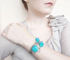 Turquoise Bracelet Teal Cabochon Bracelet Stone Chain by AlinaandT