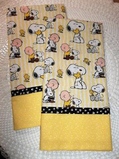 PAIR Pillowcases COTTON handmade SNOOPY Charlie Brown Peanuts standard/queen #Handmade #Country