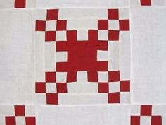 Antique-1890s-RED-Courthouse-CHECKERBOARD-Quilt-Top-1-1-4-Squares