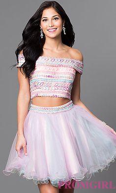 Two Piece Off the Shoulder Short Dress at PromGirl.com