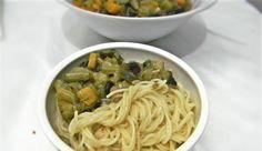 Potatoes and diced Eggplant Dragon Beard noodles