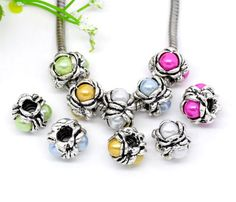 10 Pearl Accent Screw Stopper Beads. Starting at $5 on Tophatter.com!   Euro Bracelet Supplies No.84 April 3, 8pm EDT