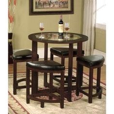 Cylina Solid Wood Round Dining Set in Dark Brown with Glass Top