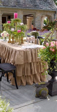 Our Ruffled Burlap Fitted Tablecloths and Runners are tailor made for spring, but an extraordinary way to give your tables a natural, feminine feel any time of year.