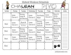 ChaLEAN Extreme Piyo Hybrid Workout - 8 Week Plan Here's a new hybrid workout schedule I designed using two of Chalene Johnson's fitness programs. I designed it to give you the best of both workouts. You'll gain muscle strength while improving your flexi Workout Days, Workout Schedule, Workout Fitness, Health Fitness, Workout Sheets, Chalene Johnson, Extreme Workouts, Extreme Fitness, Workout Calendar