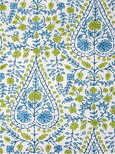 "Busun 601 Aqua Green - John Robshaw Designer Fabric - Blockprint Textiles. Perfect drapery fabric or light use upholstery fabric. 100% cotton. Repeat: V: 13.5"" H: 5.5"", Duraguard finish. Made in U.S.A. DE 42511. 54"" wide"