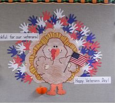 Veteran's Day and Thanksgiving.We are thankful for our veterans! November Thanksgiving, Thanksgiving Crafts, Fall Crafts, Holiday Crafts, Thanksgiving Lunch, Classroom Crafts, Classroom Fun, November Crafts, Kindergarten