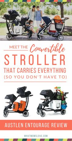 Introducing the Austlen Entourage - the most versatile and convertible stroller on the planet. It can haul 150lbs to give your growing family freedom to go anyw