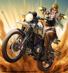 Himalyavi #dkboss7 #royalenfield #himalyan #bikergirl #action #power #babe #bike #gun