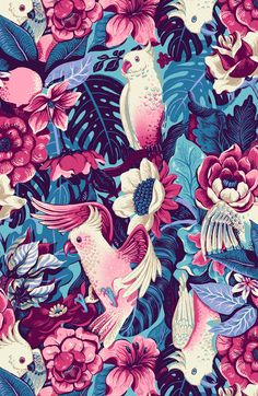 A seamless pattern with tropical birds and tapestry flowers, created on commission for an alternative fashion brand