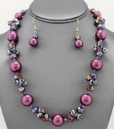 Glass Beaded Pearl Necklace Set