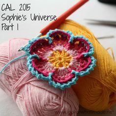 Sophie's Universe Part 1 {CAL 2015} Crochet Flowers, Crochet Yarn, Free Crochet, Afghan Crochet, Crochet Mandala, Double Crochet, Single Crochet, Knitting Patterns, Crochet Patterns