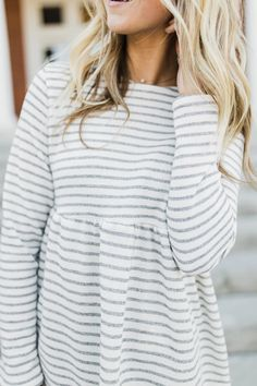 White + Grey Stripe Top for Spring | ROOLEE