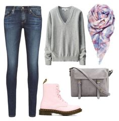 """""""Sweet"""" by paulinsky on Polyvore featuring beauty, AG Adriano Goldschmied, Dr. Martens and Uniqlo"""