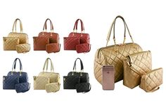 #FashionHandbags #DesignerHandbags #Designertotebag  #Designertotebags #tote   #totebag   #womantotebag    WWW.WHOLESALENEOBAGS.COM  RO10047 DESIGNER 3 IN 1 QUILTED HANDBAG SET  Zipper top closure  Textured faux leather  Side magnetic button pockets  Protective metal foot base  Inside lining with open/zipper pockets  24 inch handles  14 (W) x 5.5 (D) x 8.5 (H) inches  Extra messenger bag  49 inch adjustable strap  9.5 (W) x 3 (D) x  8.5 (H) inches  Extra pouch   7 (W) x 2 (D) x  5 (H) inches