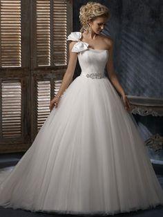 Duchesse One-Shoulder-Träger Hof Tüll Brautmode mit Schleifen